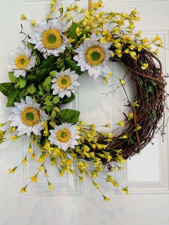 Sunflower Wreath Yellow White Flowers Front Door Spring Summer Easter Wreath