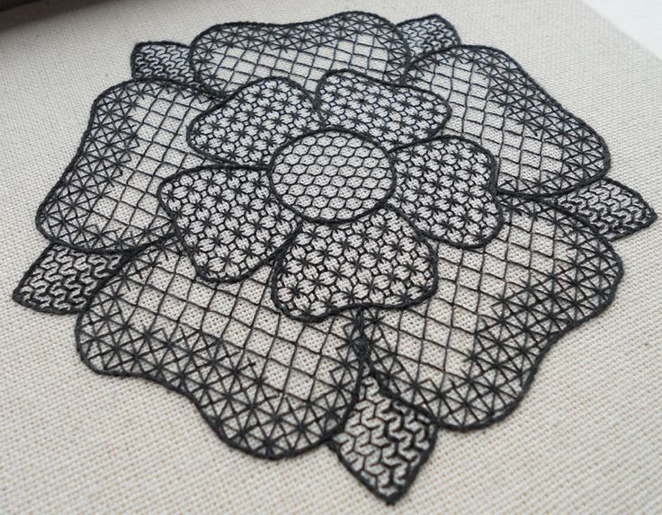 Tudor Rose Free-Form Blackwork