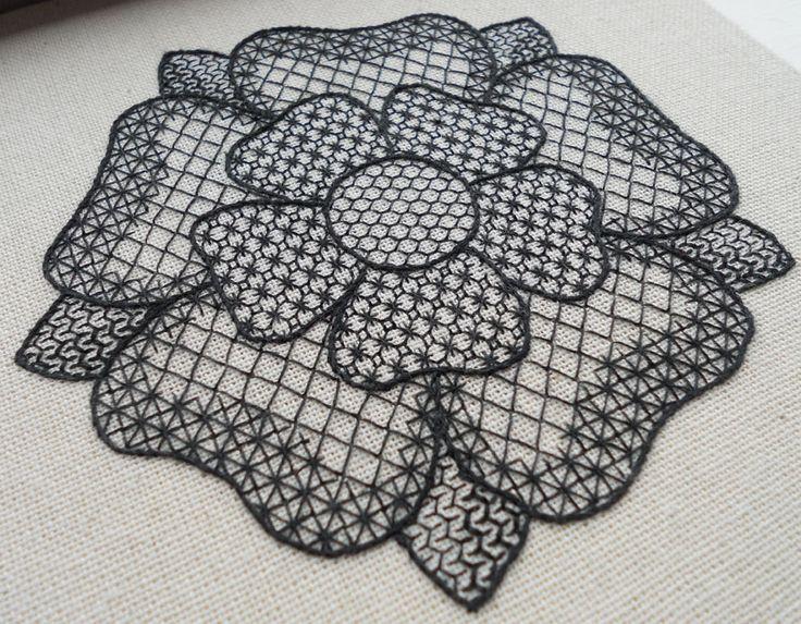 Tudor Rose Free-Form Blackwork