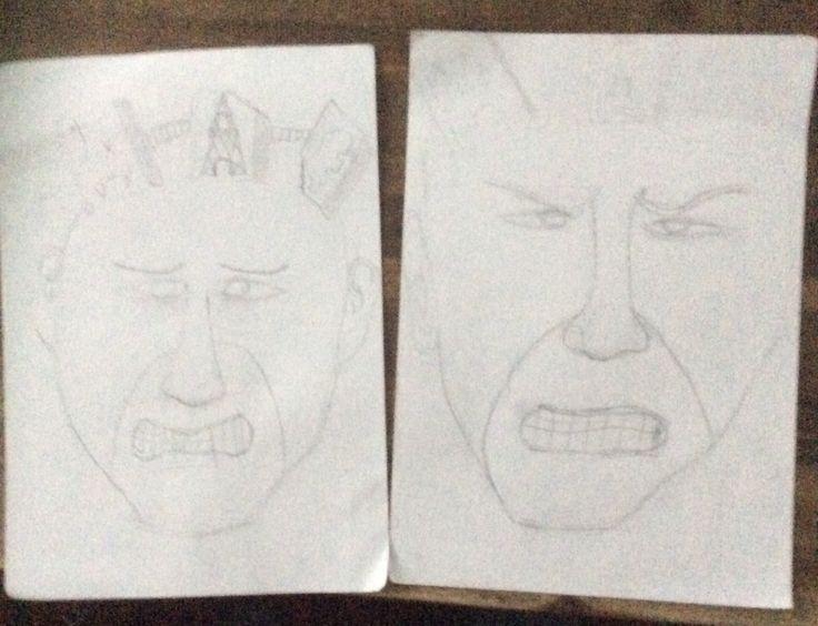 Dit zijn de schetsen van mijn masker hier zie je ook de spleetoogjes terug en de tanden die op elkaar staan. Links is een beetje droeviger en rechts een beetje bozer ik ga proberen om er tussen in te komen.