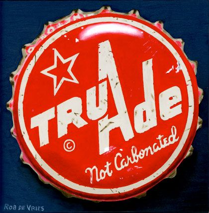 """The first of six vintage bottle cap paintings is finished.  """"Tru Ade"""" Oil on panel,  6 x 6 inch. www.robdevries.com"""