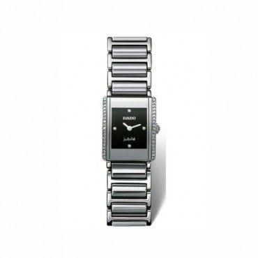 Γυναικείο ελβετικό quartz ρολόι RADO Integral με κεραμικό & ατσάλινο μπρασελέ & διαμάντια στην κάσα & το μαύρο καντράν | Ρολόγια RADO ΤΣΑΛΔΑΡΗΣ Χαλάνδρι #Rado #integral #κεραμικο #μπρασελε #ρολοι