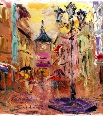 Oviedo y la pintura: Calle Cimadevilla