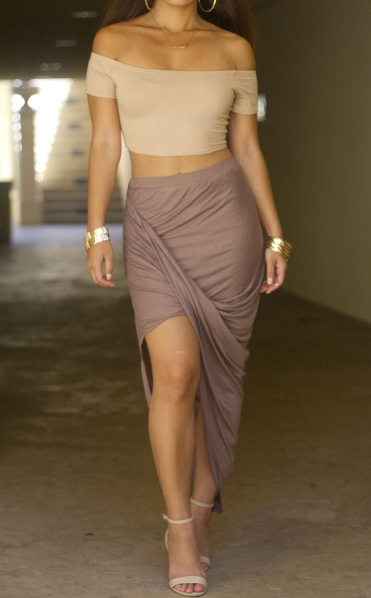 Waterfall Skirt, Make as striking an exit as your entrance in this statement Skirt: The sleek and sweeping waterfall maxi skirt . Long and lean as ever, it's even more sexy thanks to the leg revealing shape.