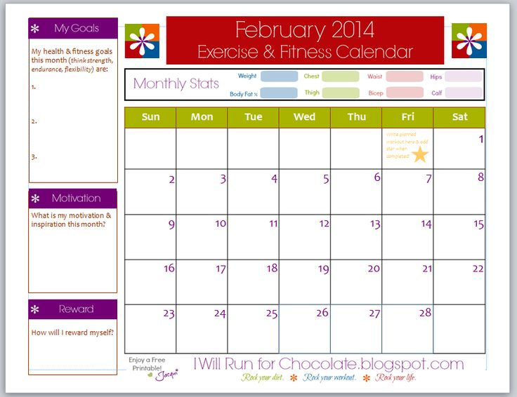 FREE Printable Exercise & Workout Calendar. Use this ...