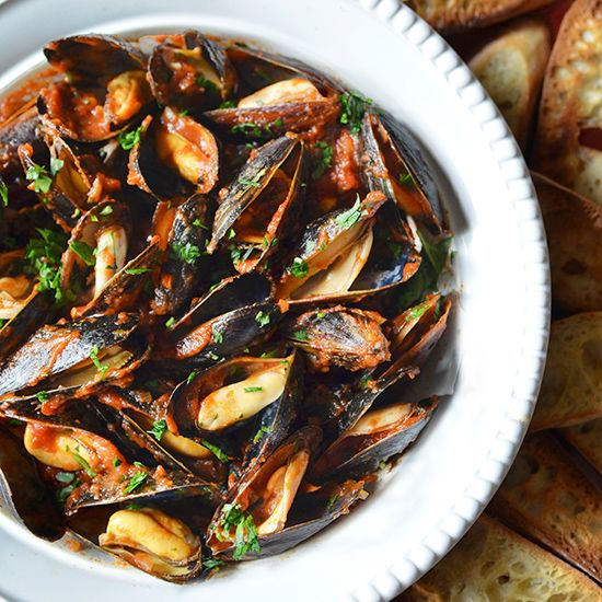 Mussels Fra Diavalo: A classic summer dish that is best served with lots of crusty bread for dipping.