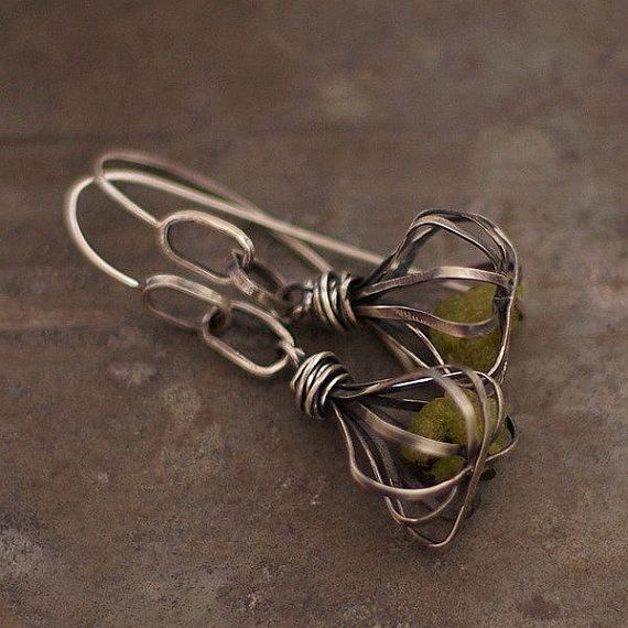 poppy heads green garnet earrings sterling by ewalompe