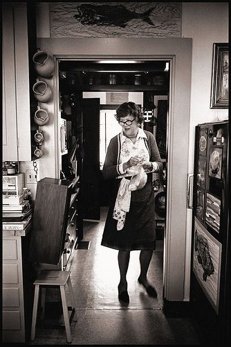 Julia Childs in her home kitchen
