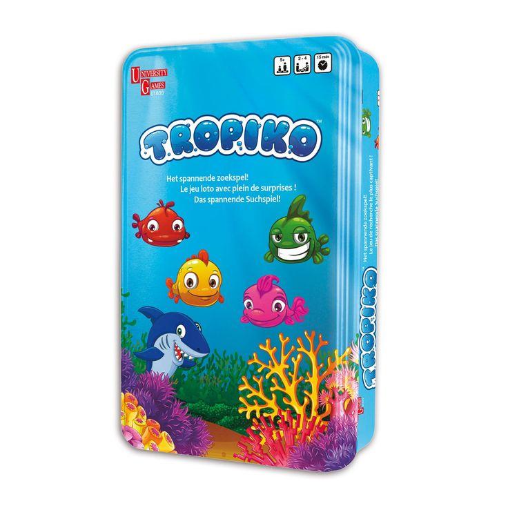 De vissen in de oceaan spelen graag verstoppertje. Vind jij jouw vissen als eerste terug? De schildpad, inktvis, krab en het zeepaard helpen je graag met de speurtocht. Maar pas op! Er zwemt ook een haai rond! Tropiko is een spannend reisspel voor 2 tot 4 spelers vanaf 5 jaar. Afmeting: verpakking 19 x 11,5 x 4,5 cm - Tropiko Reisspel