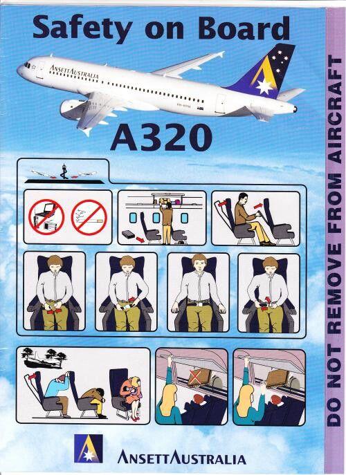 Ansett Australia A320 safety card