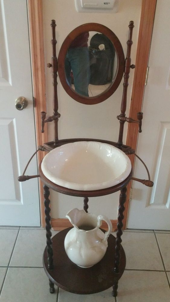 Antique Vintage Oak Wash Basin Stand And Mirror