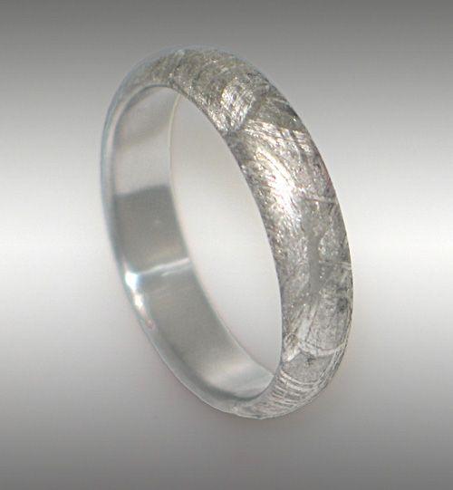 gibeon meteorite ring wedding band style 026 4mm width - Meteorite Wedding Ring