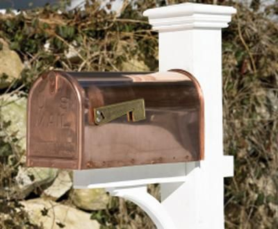 "Copper Mailbox - Durable 20-gauge copper that weathers to a rich verdigris finish with dependable riveted construction. Will never rust. Undoubtedly the best copper mailbox available today. 10""H, 8""W, 21""D."