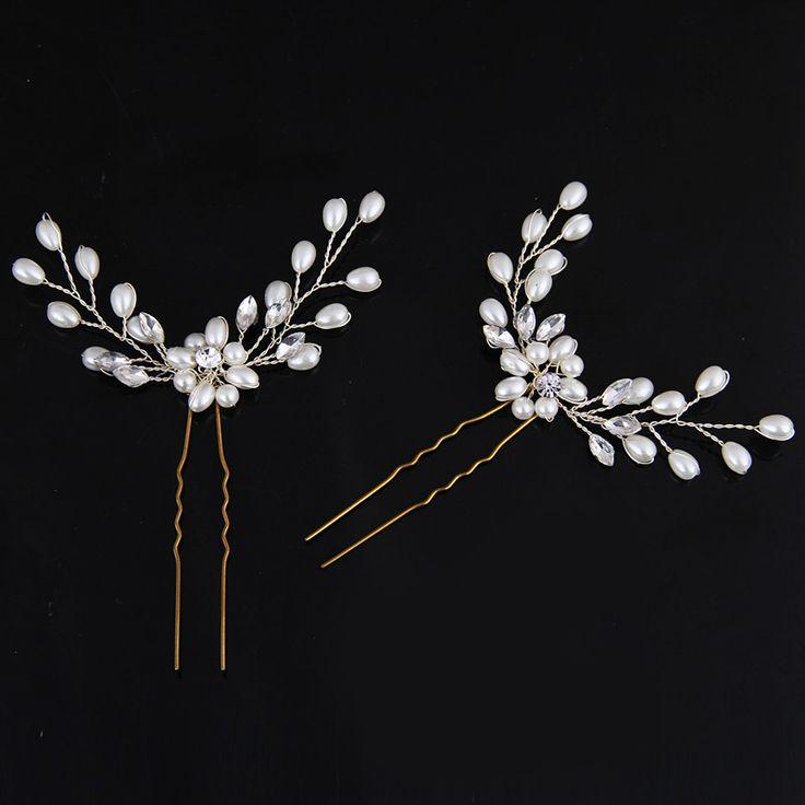 Fashion 1pc Hair Jewelry Crystal Hair Accessories Wholesale Headpiece Pearl Hair Pins Wedding Headband Girls Headdress Tiaras