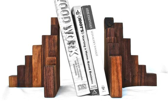 Rustic Wood Bookends Set of 2 Wooden Bookends by DynastiMillworks