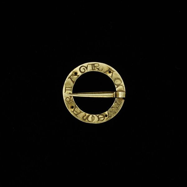 English Ring brooch, about 1200, gold, inscribed AVE MARIA GRAC | V
