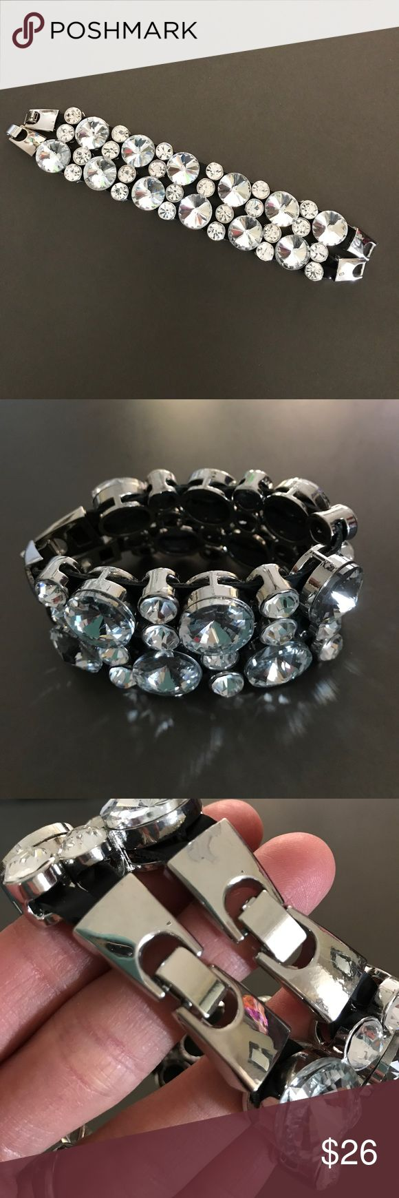 Oversized Rhinestone Silver Bracelet Beautiful Faux Stone Bracelet with 2 Clasps - Perfect for Prom, Wedding or Special Occasion - Looks 😍 in Pictures! Only Worn 2X Apricot Lane Boutique Jewelry Bracelets