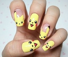 : Pokemon, Nailart, Nail Designs, Makeup, Pikachu Nails, Naildesign, Pikachunails, Nail Ideas, Nail Art