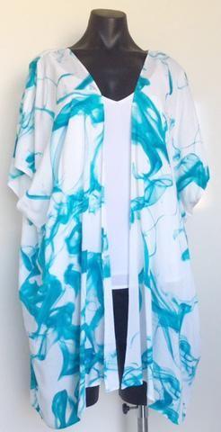 Turqoise Marble Kimono