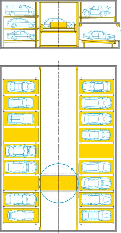 Multiparker 730 - Wohr Parking Systems Australia - Car Parking Solutions as mechanical car stackers, fully automatic car parks, car lift, vehicle turntables, sliding vehicle platforms, parking guides, combilifts, parksafe, multiparker, automatic bicycle parking tower.