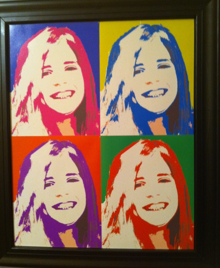 """any picture and """"Andy Warhol"""" it! All you need is: 1. a picture 2. spray adhesive 3. cardboard 4. frame (or trim to make your own).     I took head shot of each of my kids to hang in their playroom.  Bring it up in Photoshop then put in gray scale.  Mess around with the colors to get the combination you like best (one for background then one for the subject itself).  Do this four times with different color combos.  I saved them in 8x10 sizes then uploaded to Walmart (or your favorite…"""