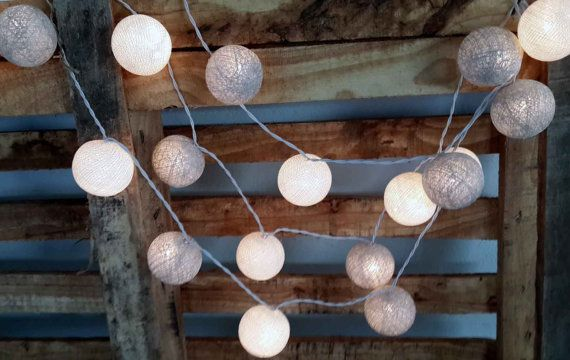 20xwhite and silver cotton ball string light wedding light party lantern indoor decor fairy on ...