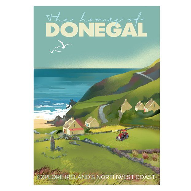 A2 (594 x 420mm) The Homes of Donegal. Poster of the donegal coastline. Printed 170g/m² art print paper Artist: Roger O'Reilly