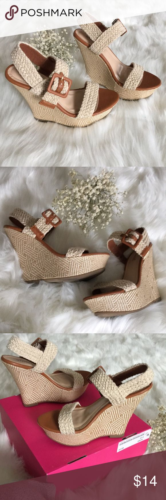 ✨Shoe Dazzle✨ BOBBI SIZE 8 ✨Show Dazzle Bobbi Size 8 Woven platform wedge heels. Worn a cpl times  - like new condition❣️ Come with box✨ They're comfortable wedges that are a work of art! They will hug your feet!  Colors are identical to pics! Shoe Dazzle Shoes Platforms