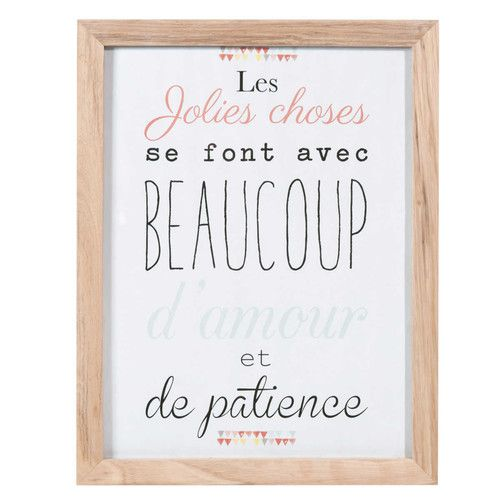 cette phrase en affiche personnalis e tableau en bois 34 x 44 cm les jolies choses id es. Black Bedroom Furniture Sets. Home Design Ideas