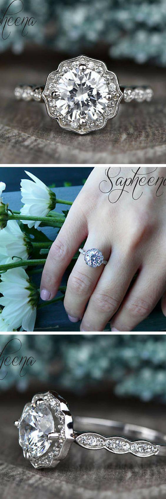 Moissanite Round Vintage Floral Engagement Ring in 14k White Gold, Bridal Ring,7mm Round Moissanite Promise Ring,Wedding Ring by Sapheena. #wedding #affiliate #engagement #etsy #ring #weddingring