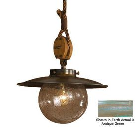 lustrarte cadernal 1417in w antique green pendant light with shade
