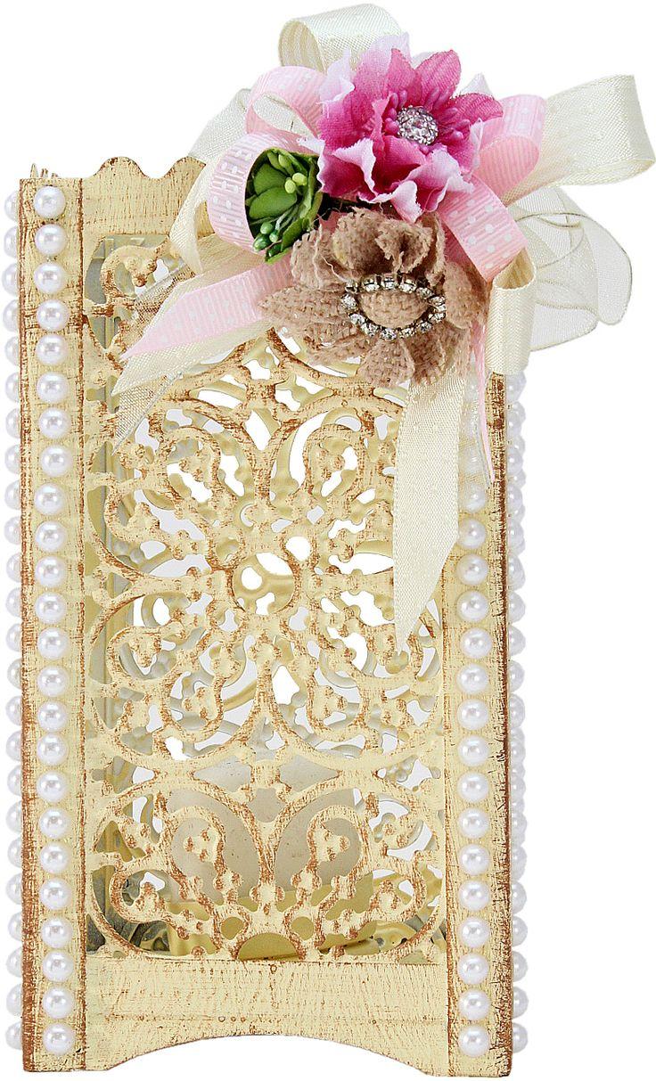 Quinqué Vintage con Flores y Perlas