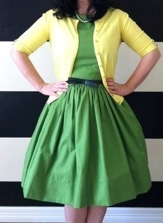 green dress, full skirt, pale yellow cardigan <3