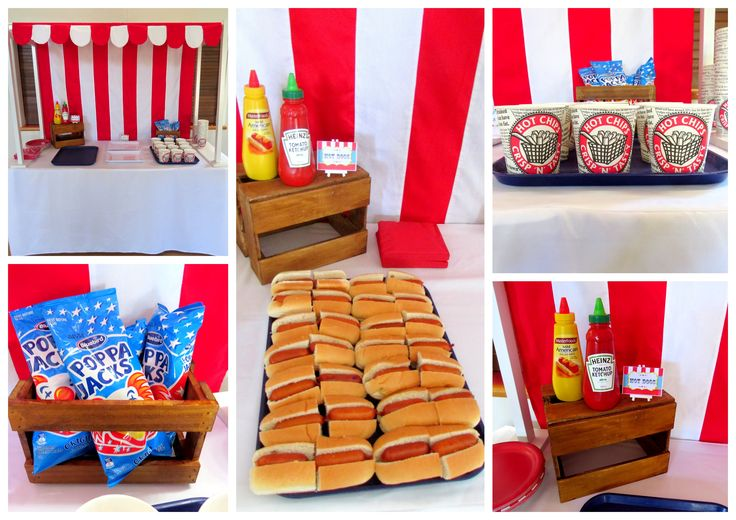 Circus party - hotdogs and chips stand