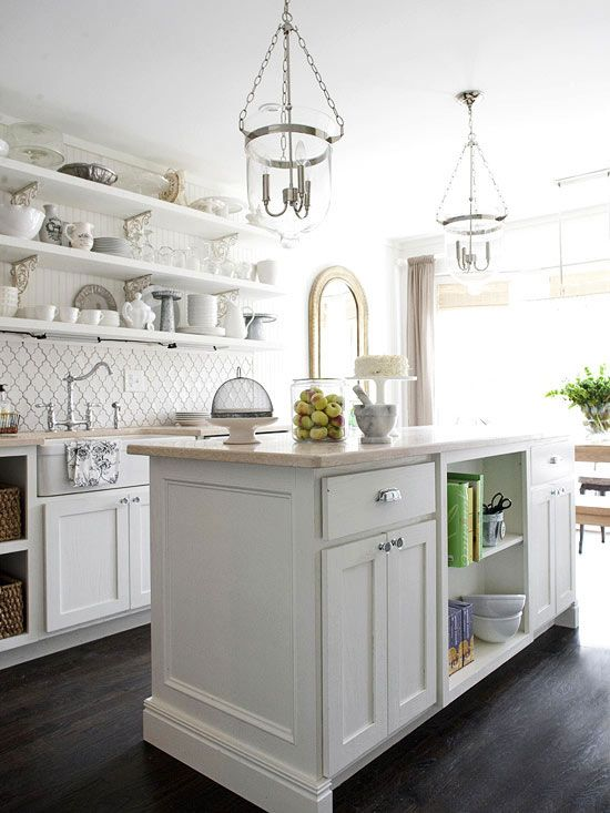 Fuss Free: Back Splashes, Backsplash Tile, Open Shelves, Dreams Kitchens, Kitchens Remodeling, Lights Fixtures, Pendants Lights, White Cabinets, White Kitchens