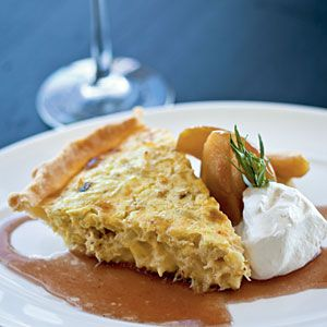 Dungeness Crab Pie with Braised Apples and Meyer Lemon Crème FraîcheBraised Apples, Coastalliving Com, Crabs Pies, Lemon Crème, Dungeness Crabs, Apples Recipe, Crabs Recipe, Meyers Lemon, Cream