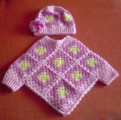 I can knit, must learn to crochet #hippybaby Infant Granny-Square Poncho w/ added cuffs and matching cap.  (Link to pattern tutorial for a similar poncho)