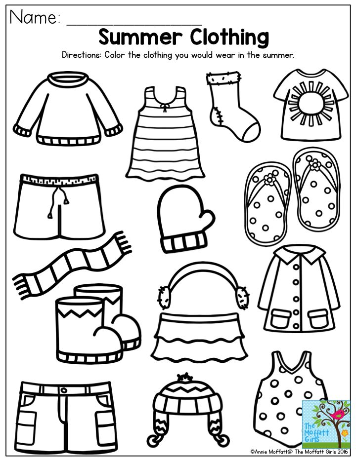 Summer clothing color the items that you would wear in for Clothing coloring page