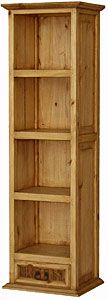 """At 21 inches wide and 70"""" tall this is our narrowest and tallest rustic bookshelf.  It's perfect for books, but can also be used for CDs, DVDs, and videos.  Use it in the kitchen as an attractive open pantry or for dish storage.  The wormwood drawer at the bottom is perfect for utensils.  If you need storage and have limited room, this piece of southwestern furniture is affordable and will always be useful."""