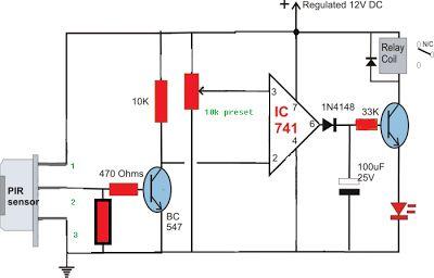 Simple Circuit Diagram using PIR Sensor (PIR = SENZOR PASIV IN INFRAROSU)