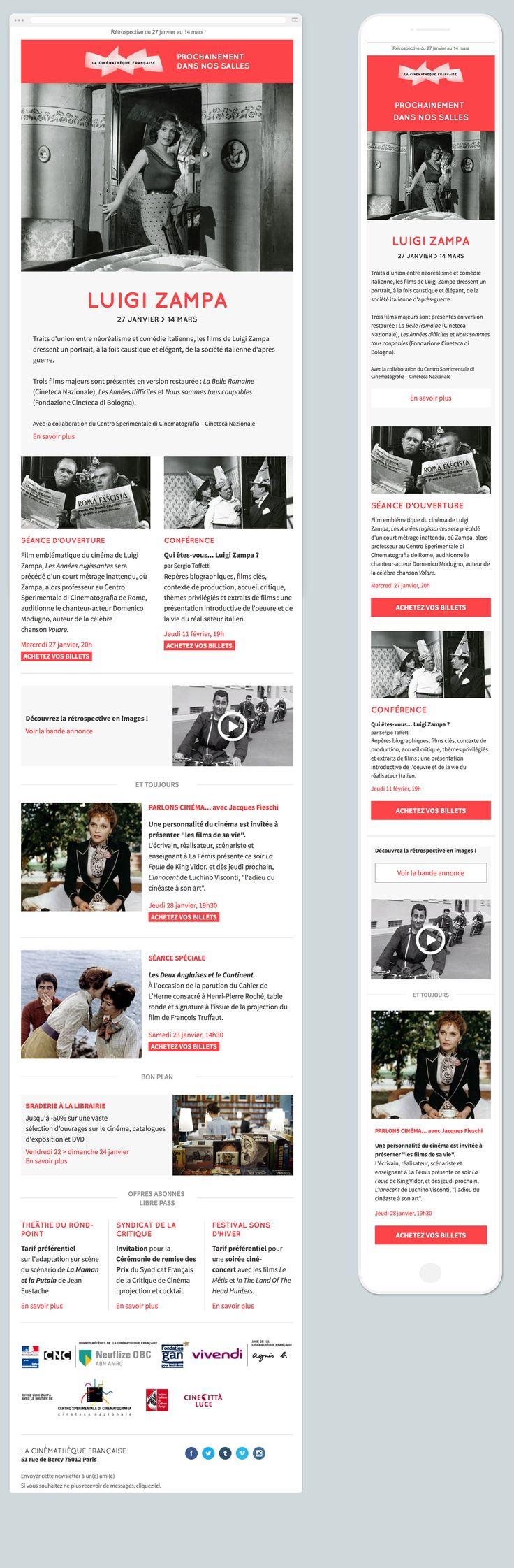 Newsletter responsive cinémathèque française. La news utilise des webfonts.                                                                                                                                                                                 Plus