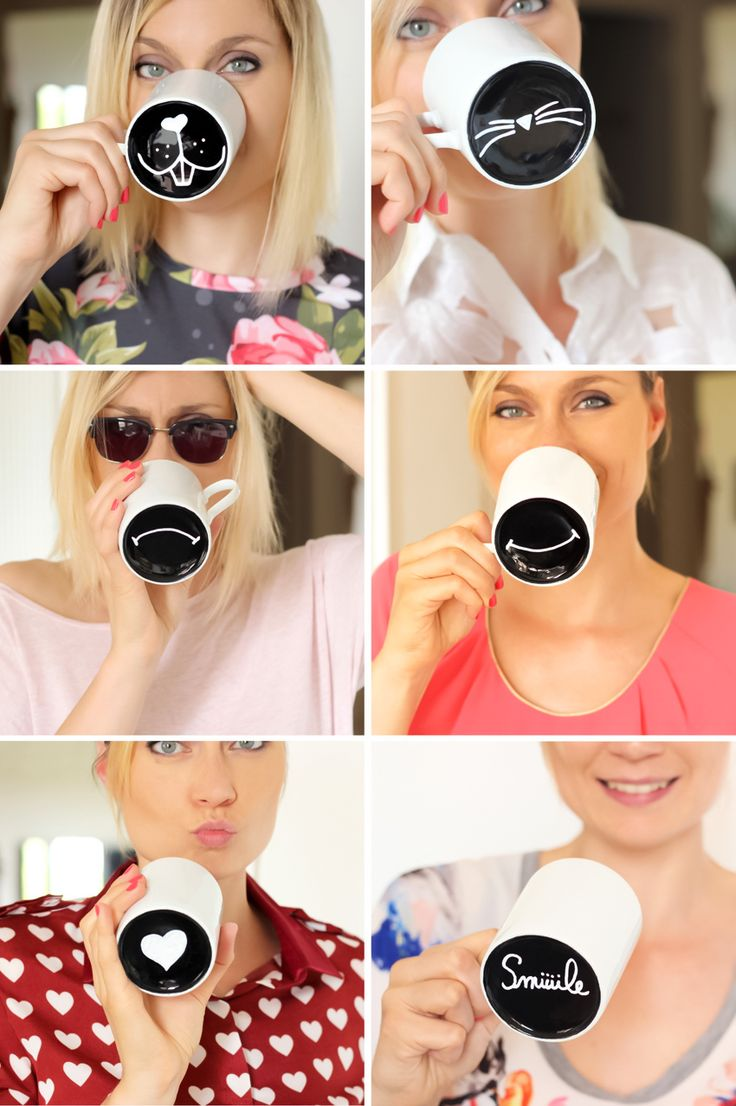 Free tutorial to make painted mugs