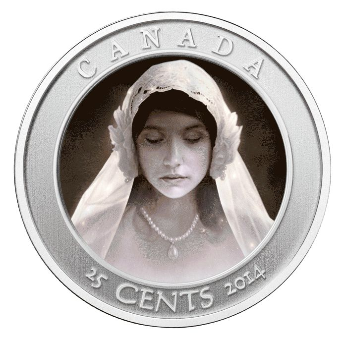 Canada 2014 25c Haunted Canada - Ghost Bride CU/NI BU.  Canada 2014 25c Haunted Canada - Ghost Bride CU/NI BU.  This coin features a portrait of a bride with her eyes closed, her bridal headdress softly cascading over her shoulders. Thanks to the creative use of lenticular technology, a uniquely haunting effect is produced when the coin is tilted: the bride's eyes suddenly spring open, while the candles that lined the staircase light up the once-black background.