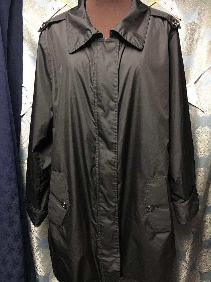 Dennis Basso Black raincoat name Print Lining 2X EUC #DennisBasso #JACKET