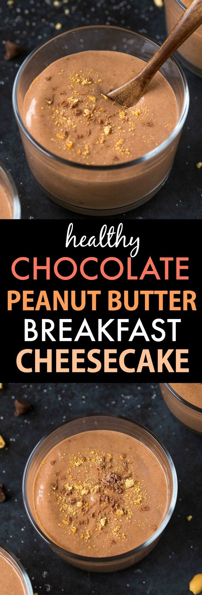 Healthy Chocolate Peanut Butter Breakfast Cheesecake (V, GF, DF)- Thick, creamy and packed with protein, this clean eating recipe is LOADED with peanut butter flavor (peanut flour and PB2), minus all the fat and zero sugar! {vegan, gluten fee, sugar free recipe}- thebigmansworld.com