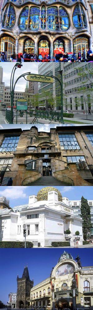 Gaudí a Barcellona, Guimard a Parigi, Mackintosh a Glasgow, Olbrich a Vienna, la Casa Municipale a Praga: cinque grandi esempi di architettura Liberty.