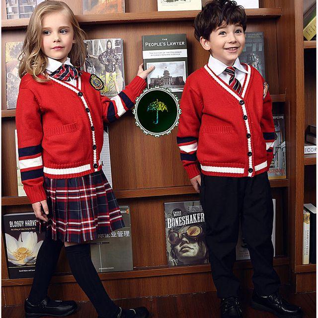 Invierno primavera moda coreana british uniforme escolar para girls & boys jardines de infancia de los niños del suéter traje de falda niños que arropan el sistema