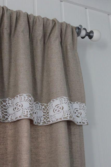 Картинки по запросу cortinas de tela con apliques de crochet