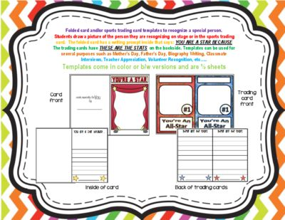 Unique Writing Template-Folded Card and Sports Trading Cards Project from iCreate2educate on TeachersNotebook.com (9 pages)