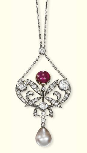 AN ANTIQUE NATURAL PEARL, DIAMOND AND SYNTHETIC RUBY PENDENT NECKLACE   Designed as a circular-cut diamond scrollwork and collet panel suspending a light brownish grey natural pearl weighing 10.87 carats (43.51 grains) to the cabochon synthetic ruby surmount and fine-link neckchain, circa 1870, later chain, pendant 5.5 cm long